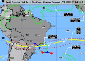 A linha tracejada em vermelho indica a área prevista para turbulência.